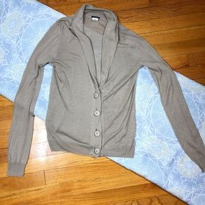 J. Crew Cardigan Beige Big Buttons Folding Collar
